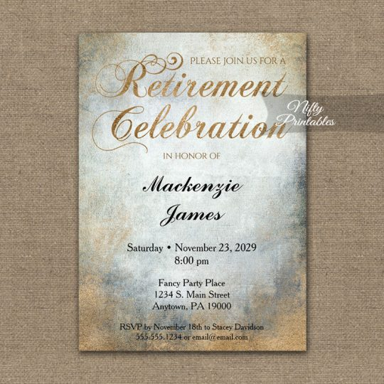Retirement Invitations Painted Copper PRINTED