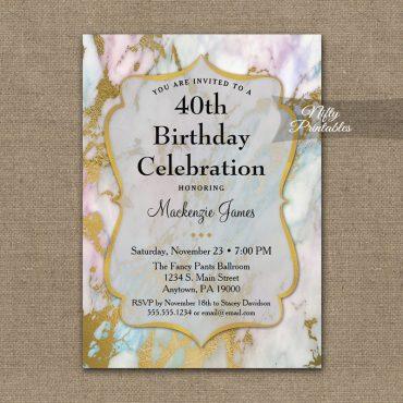 Birthday Invitation Pink Marble PRINTED