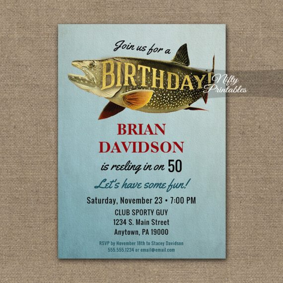 Birthday Invitation Vintage Fishing PRINTED