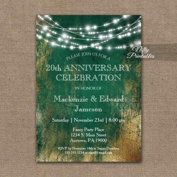 Anniversary Invitation Green Gold String Lights PRINTED