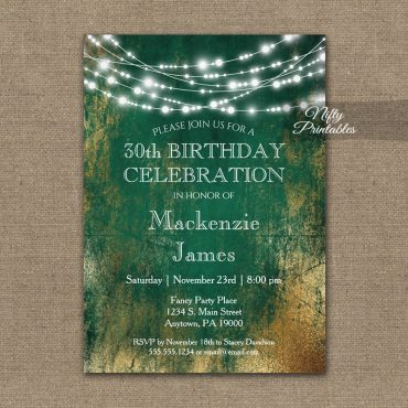 Birthday Invitation Green Gold String Lights PRINTED