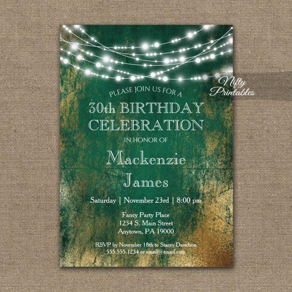 Birthday Invitation Green Gold String Lights PRINTED