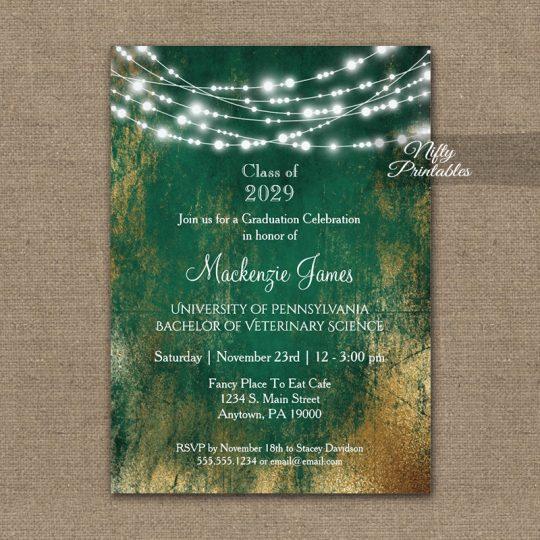 Graduation Invitations Green Gold String Lights PRINTED