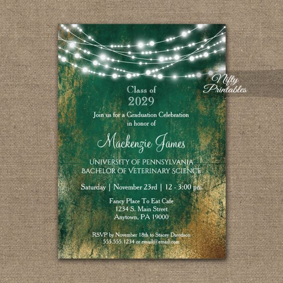 Graduation Invitation Green Gold String Lights PRINTED