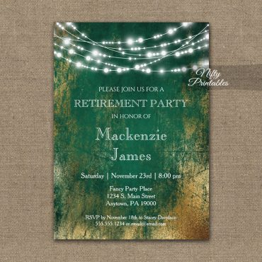 Retirement Invitation Green Gold String Lights PRINTED