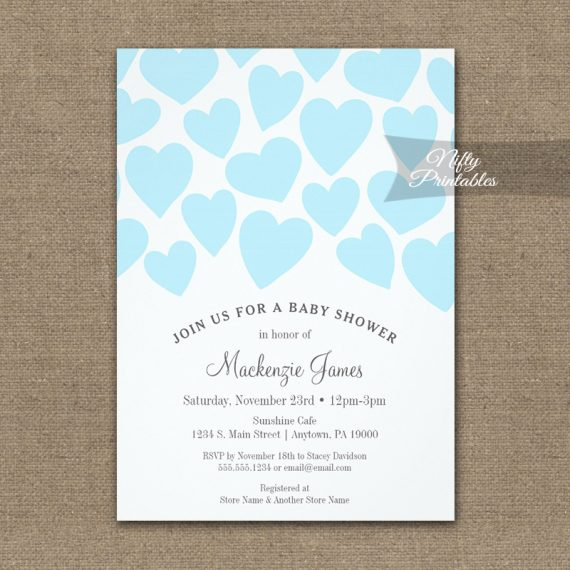 Baby Shower Invitation Whimsical Blue Hearts PRINTED