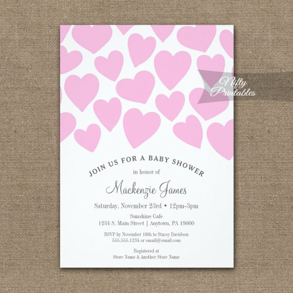 Baby Shower Invitation Pink Hearts PRINTED