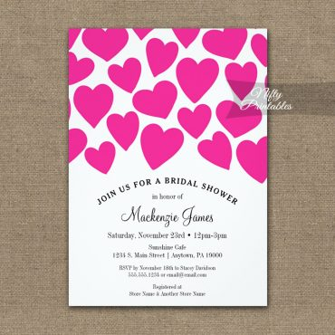 Bridal Shower Invitation Hot Pink Hearts PRINTED