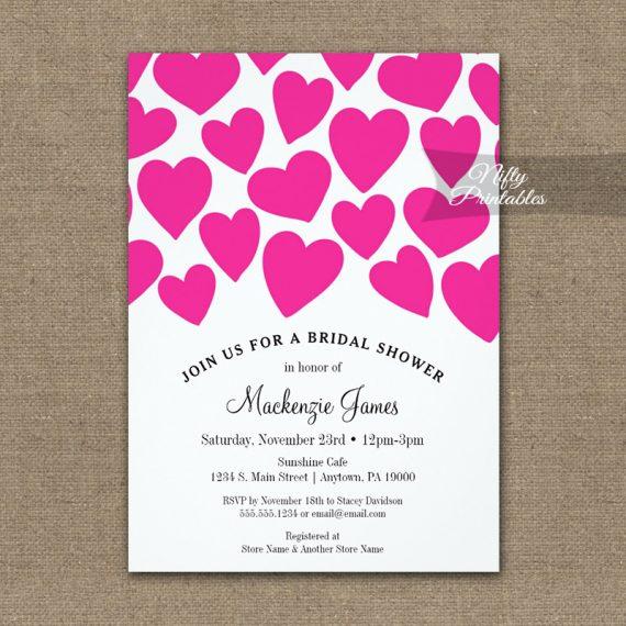 Bridal Shower Invitation Hot Pink Hearts PRINTED