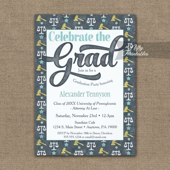 Law School Graduation Invitation Gray Lawyer PRINTED