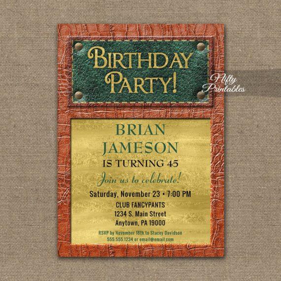 Birthday Invitation Leather Mens PRINTED