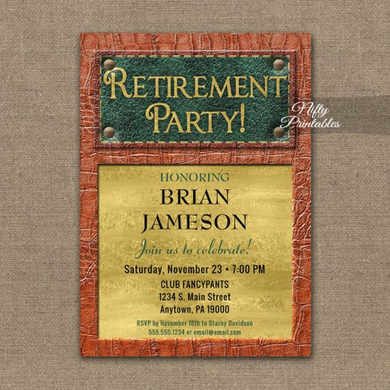 Retirement Invitation Leather Mens PRINTED