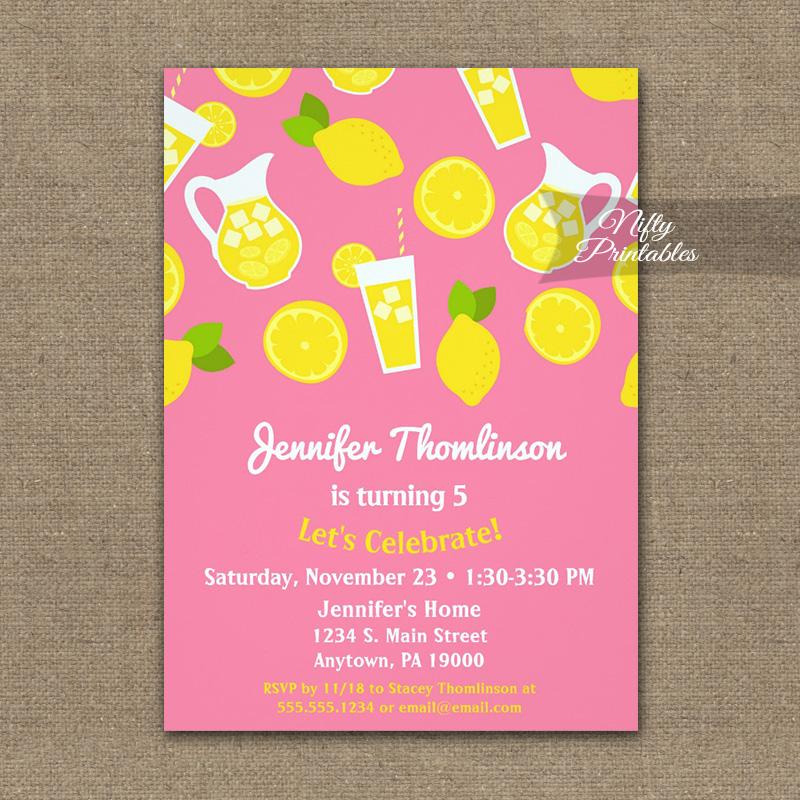 Birthday Invitation Pink Yellow Lemonade PRINTED