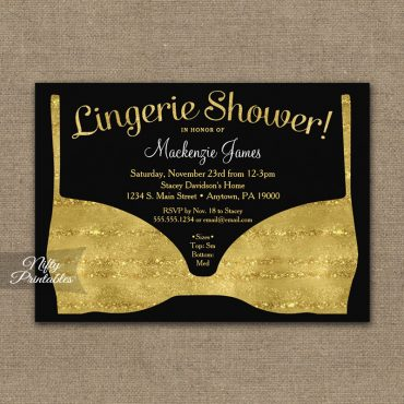 Bridal Shower Invitation Gold Black Lingerie PRINTED