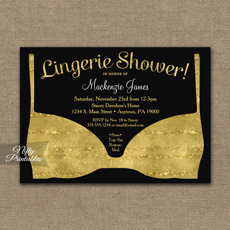 Bridal shower invitation gold black lingerie printed nifty printables bridal shower invitation gold black lingerie printed filmwisefo