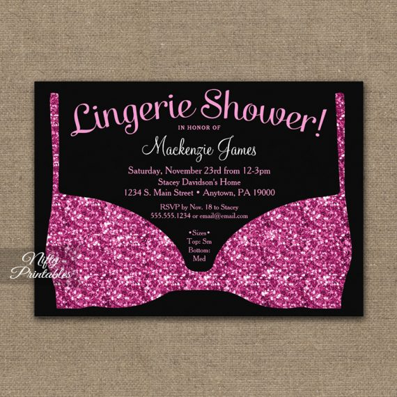 Bridal Shower Invitation Pink Black Lingerie PRINTED