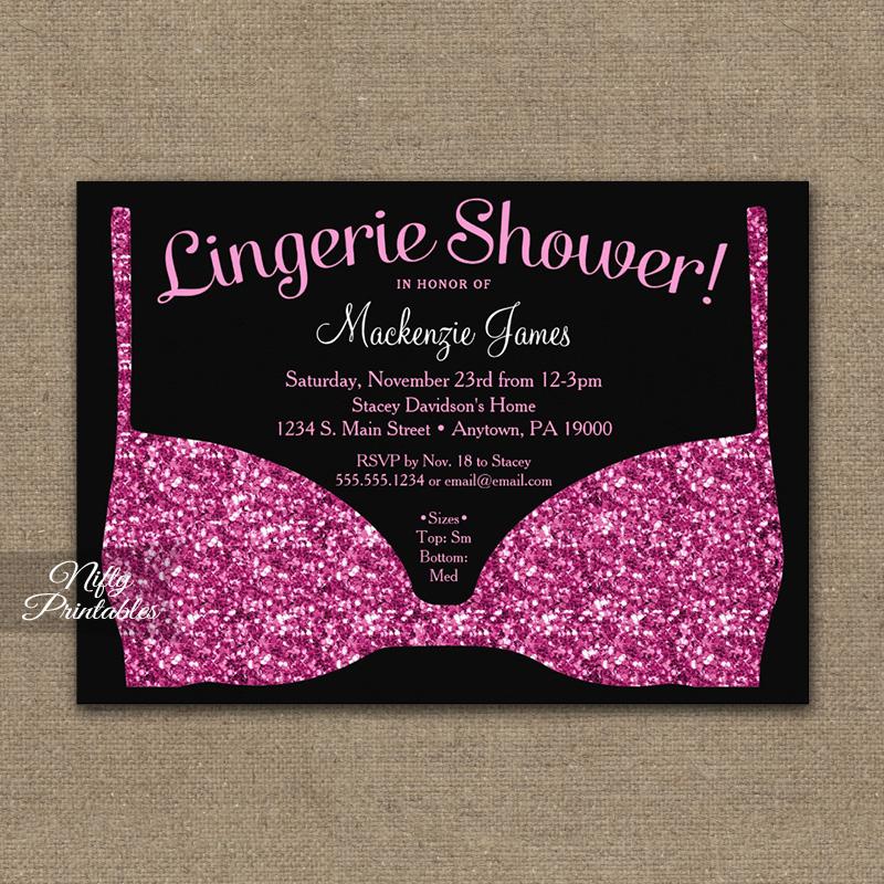 bridal shower invitation pink black lingerie printed