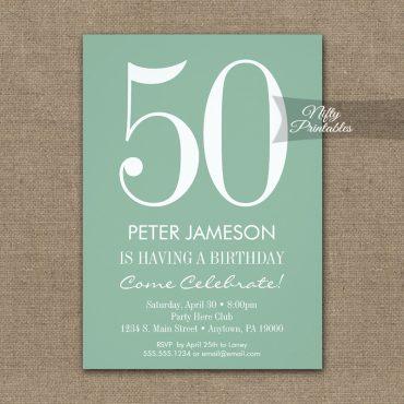 Birthday Invitation Mint Green & White Modern PRINTED