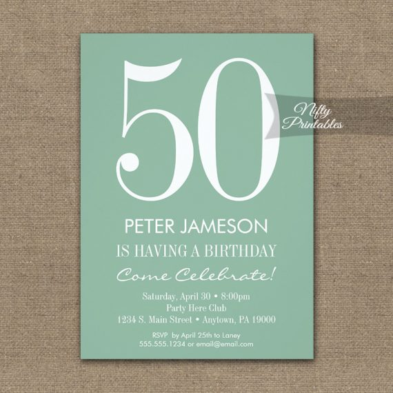 Birthday Invitation Mint Green & White Modern PRINTED