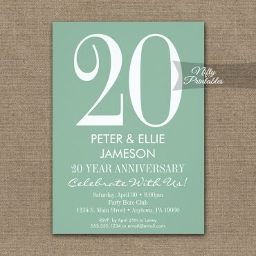 Anniversary Invitation Mint Green & White Modern PRINTED