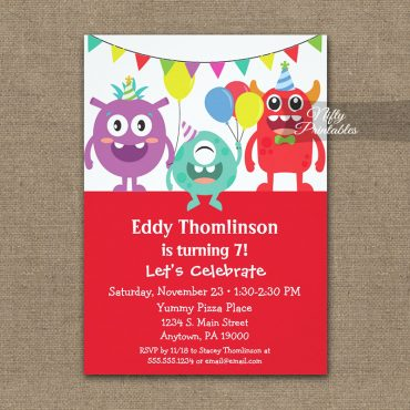 Birthday Invitation Funny Monsters PRINTED