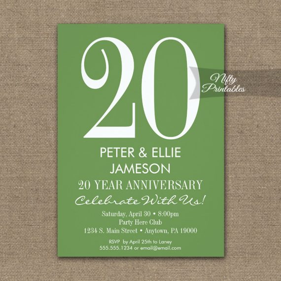 Anniversary Invitation Moss Green & White PRINTED