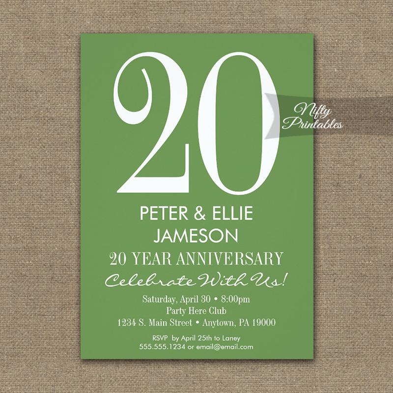 Anniversary Invitation Moss Green & White PRINTED