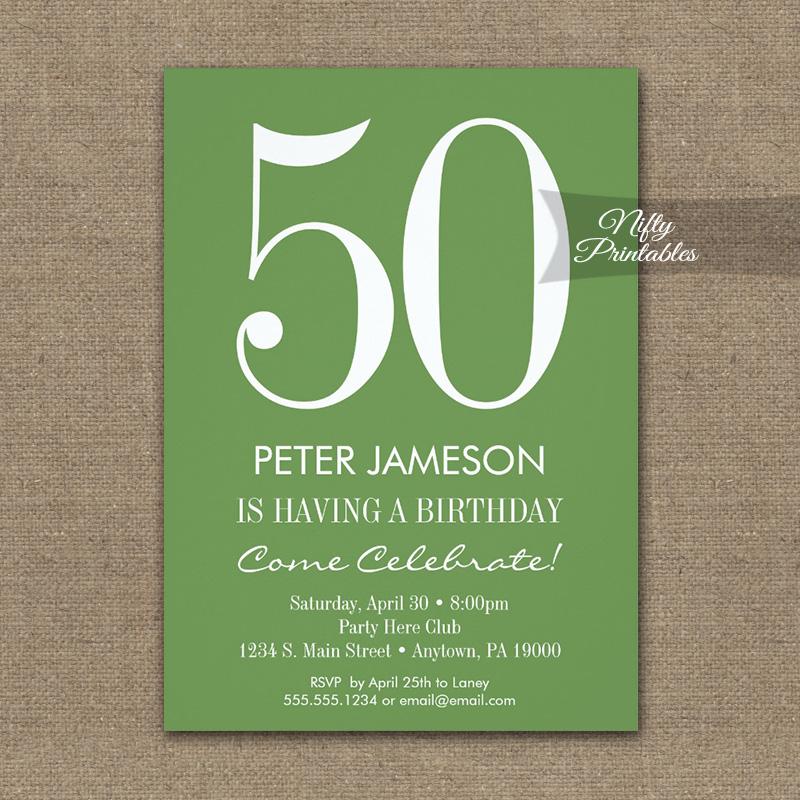 Birthday Invitation Moss Green & White PRINTED