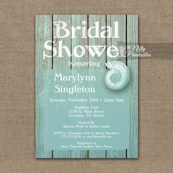Bridal Shower Invitation Blue Beach Wood PRINTED