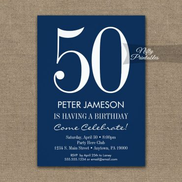 Birthday Invitation Navy Blue & White Modern PRINTED