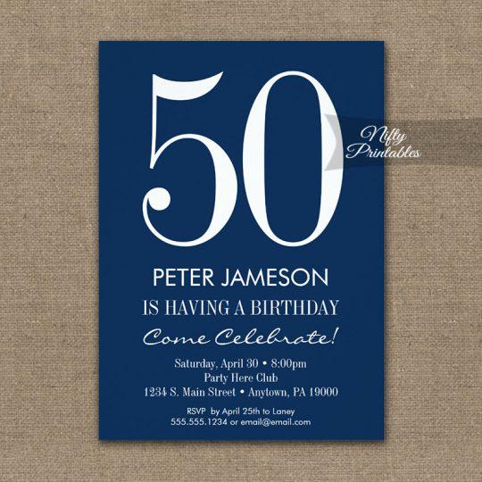 Birthday Invitations Navy Blue & White Modern PRINTED