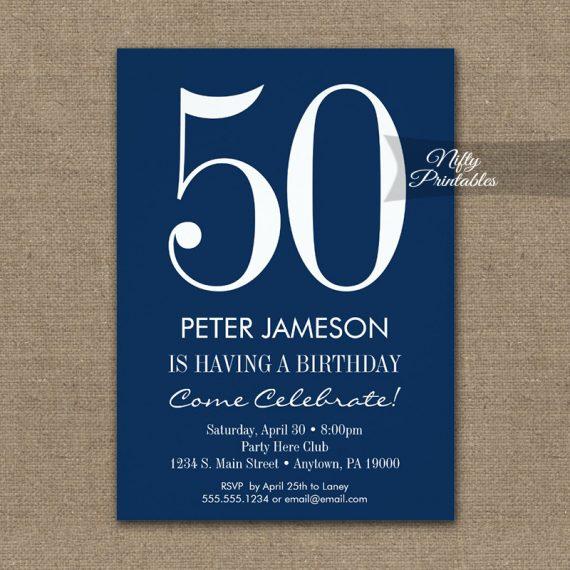 Birthday Invitation Navy Blue & White Modern PRINTED