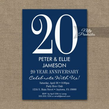 Anniversary Invitation Navy Blue & White Modern PRINTED