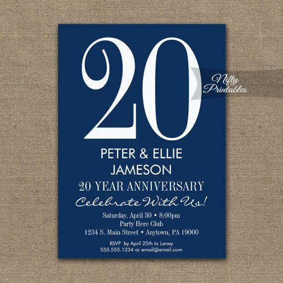 Anniversary Invitation Navy Blue & White Modern PRINTED
