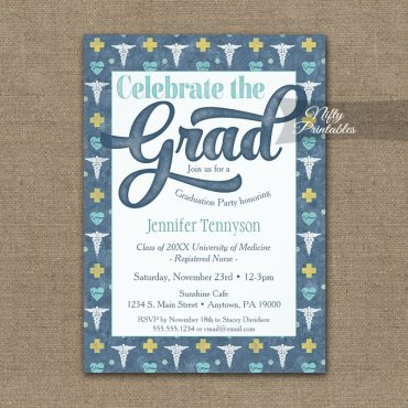 Nurse Doctor Graduation Invitations Nursing RN LPN Blue PRINTED