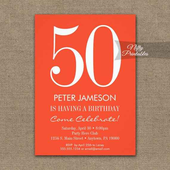 Birthday Invitation Orange & White Modern PRINTED