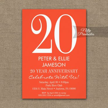 Anniversary Invitation Orange & White Modern PRINTED