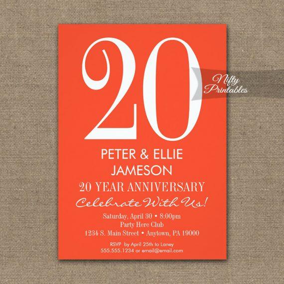 Anniversary Invitation Orange & White Modern PRINTED