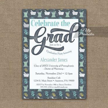 Pharmacy School Graduation Invitation Pharmacist Gray PRINTED