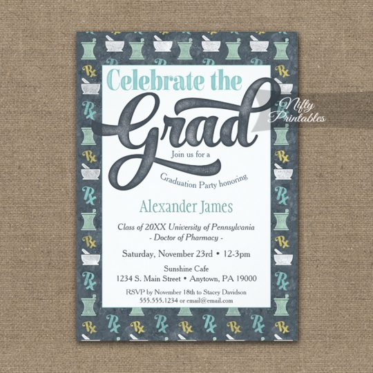 Pharmacy School Graduation Invitations Pharmacist Gray PRINTED
