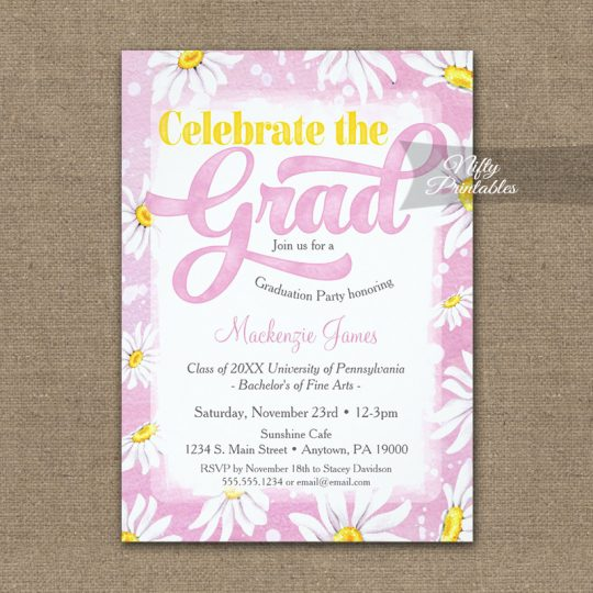 Graduation Invitations Pink Watercolor Daisy PRINTED