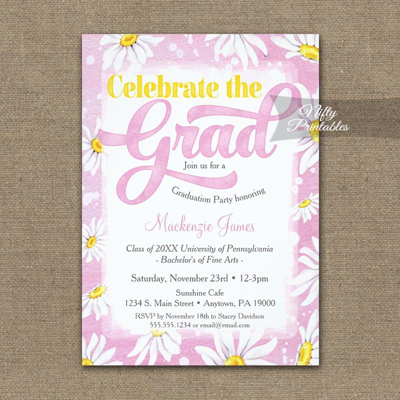 Graduation Invitation Pink Watercolor Daisy PRINTED