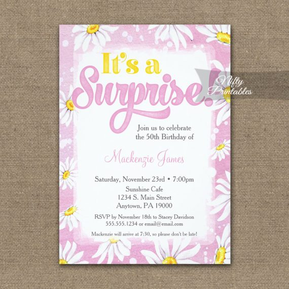 Surprise Birthday Invitation Pink Yellow Daisy Watercolor PRINTED