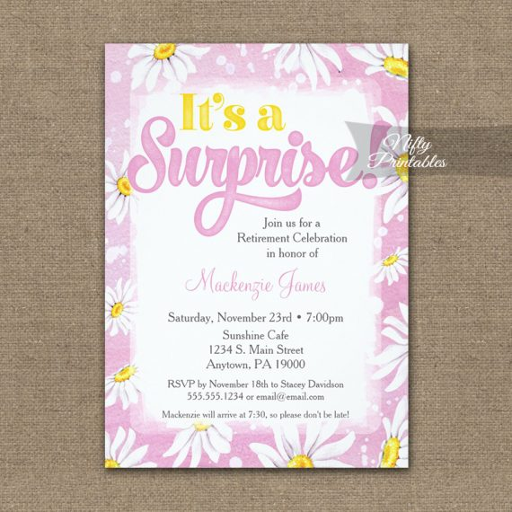 Surprise Retirement Invitation Pink Yellow Daisy Watercolor PRINTED