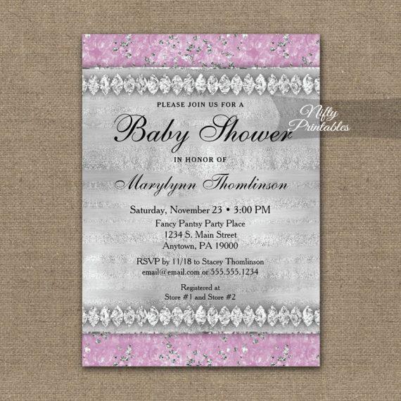 Baby Shower Invitation Pink Diamonds PRINTED