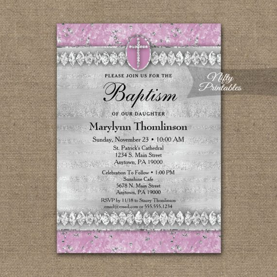 Baptism Invitation Pink Diamonds PRINTED