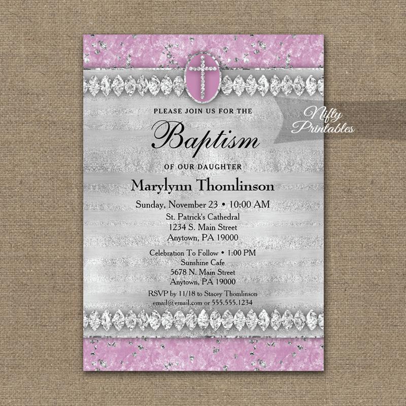 Baptism Invitation Pink Diamonds PRINTED