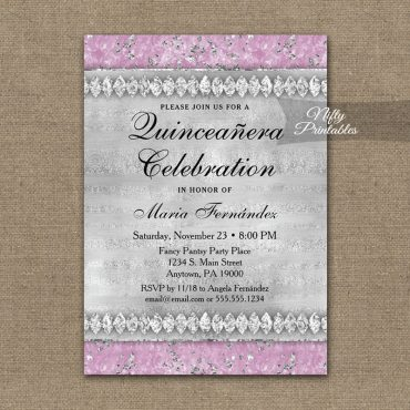 Quinceañera Invitation Pink Diamonds PRINTED