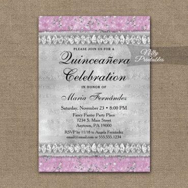 Quinceañera Invitations Pink Diamonds PRINTED