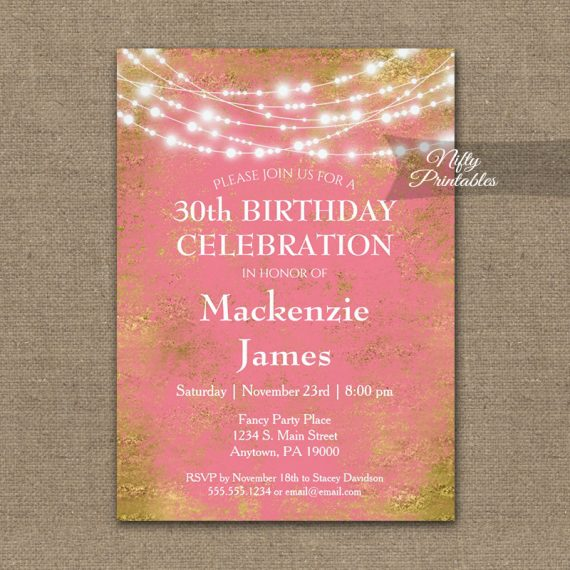 Birthday Invitation Pink Gold String Lights PRINTED